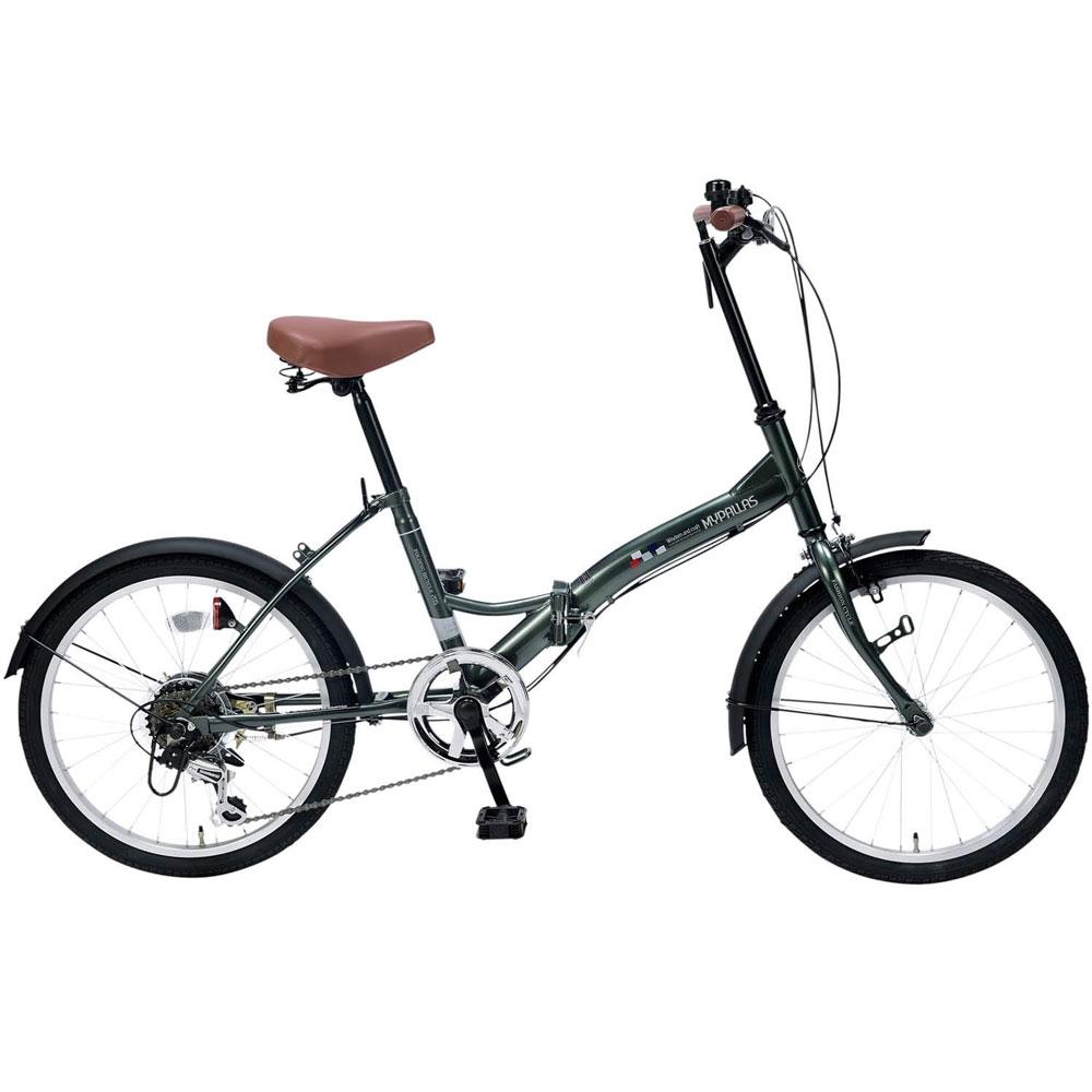 《6段ギア付で快適走行、街乗りに映える4色カラー》My Pallas 20インチ 6段変速折りたたみ自転車M-205-GRセージグリーン