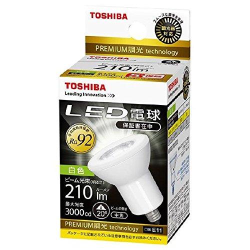《発熱量少、紫外放射ゼロ、商品を傷めない》東芝 LED電球(E11口金ハロゲン電球形)中角白色100W形相当LDR6W-M-E11/D2調光器対応(2個セット)