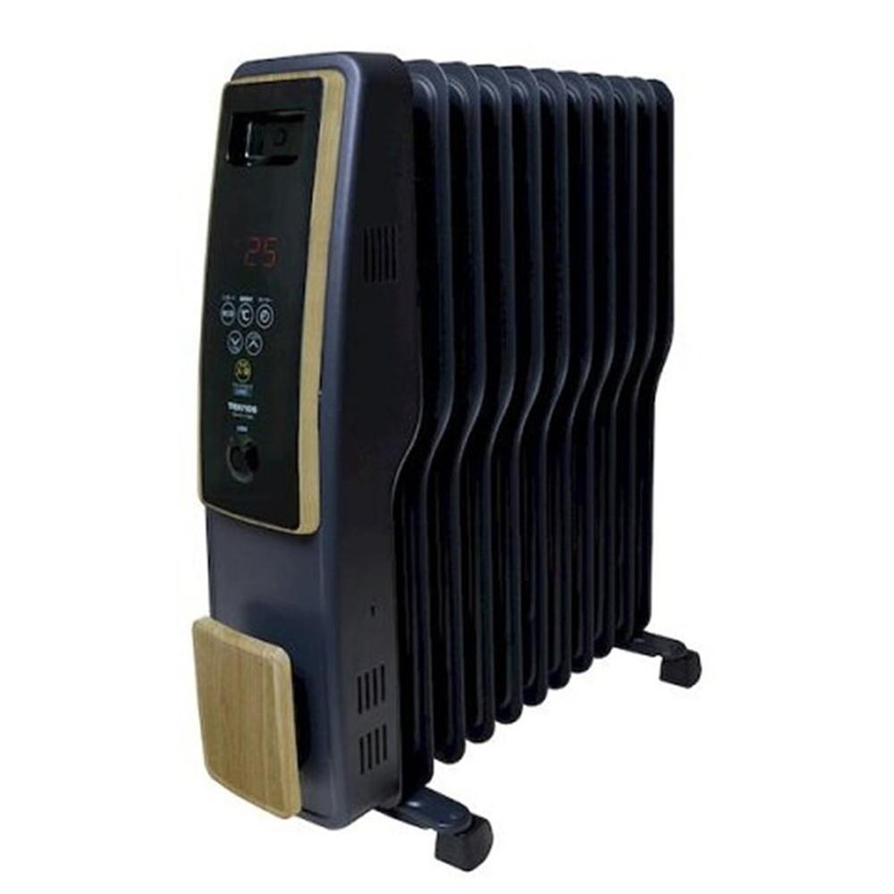 《表面積か_広く熱効率の良いS型フィン採用。温度センサーとエコモート_て_省エネ》TEKNOS 11枚フィンオイルヒーターTOH-D1110NBデジタル表示・木目調