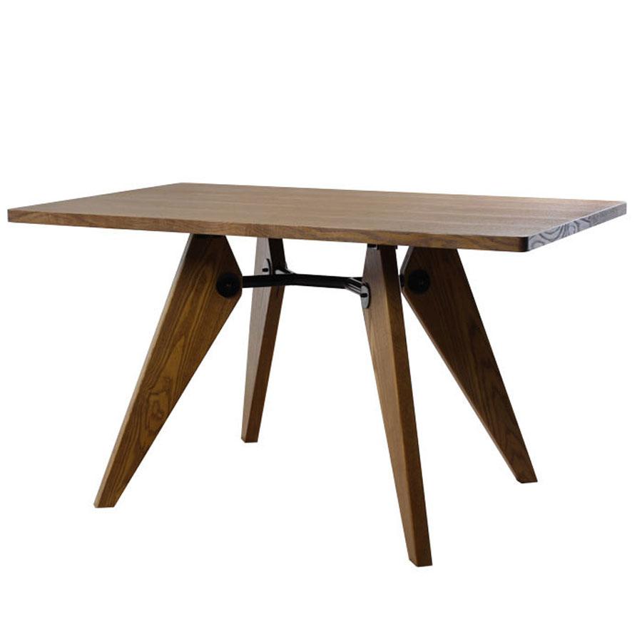 《三角形の脚が天板を支え、安定感のあるテーブル》ジャン・プルーヴェ レクトテーブルゲリドンRT-754-BR