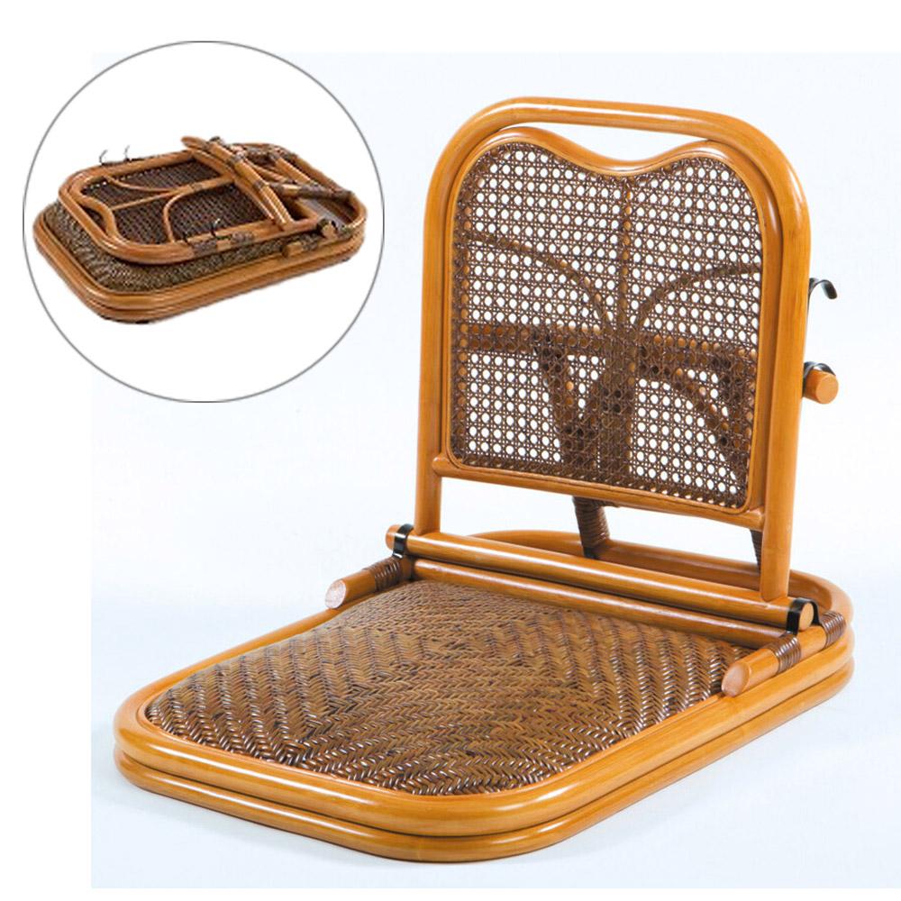 《籐の編み込みが美しい、折りたたみ座椅子。収納に場所取らず》鹿田産業 ラタン折りたたみ座椅子GNM01