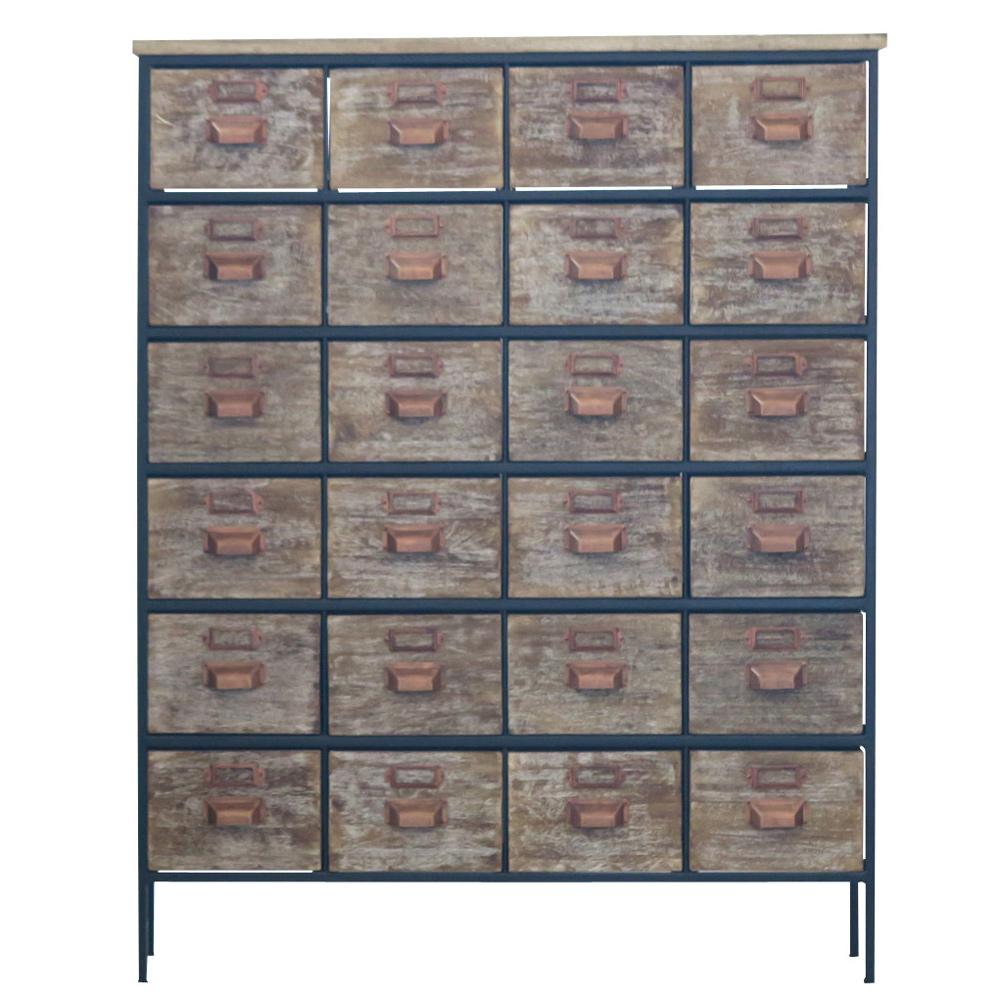 《木肌を生かしたアンティーク調チェスト》ienowa アイアン/マンゴー4列6段木製キャビネット111cm幅201200533