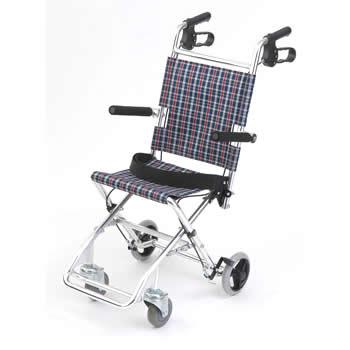 【非課税】美和商事 MIWA 介助式 アルミ製小型車椅子 チビポン HTB-AC1-CNB (チェックネイビーブルー)
