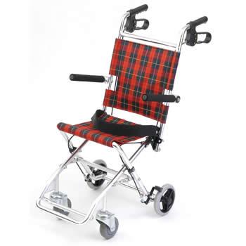 【非課税】美和商事 MIWA 介助式 アルミ製小型車椅子 チビポン HTB-AC1-CR (チェックレッド)