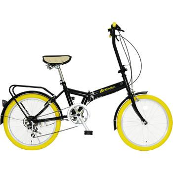 《ちょい乗りに最適。6段変速・リング錠付きでこの価格》美和商事 20インチ6段変速折りたたみ自転車リズムFD1B-206(YE)リング錠付