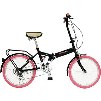 《ちょい乗りに最適。6段変速・リング錠付きでこの価格》美和商事 20インチ6段変速折りたたみ自転車リズムFD1B-206(PK)リング錠付