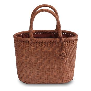 《伝統的な網代編みの風合いを活かした》山葡萄籠工房 山ぶどうかごバッグBK-01Y 網代編 Sサイズ 飾細工付