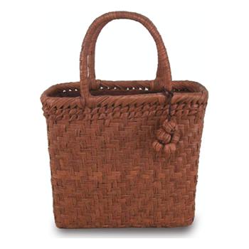 《伝統的な網代編みの風合いを活かした》山葡萄籠工房 山ぶどうかごバッグBK-05Y 網代編 Mサイズ 飾細工付