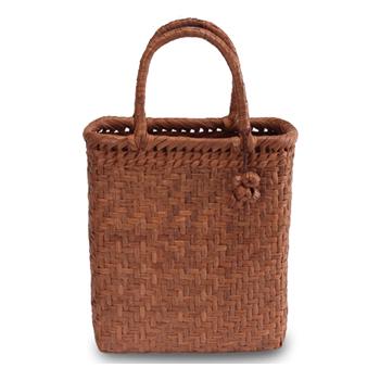 《伝統的な網代編みの風合いを活かした》山葡萄籠工房 山ぶどうかごバッグBK-06Y 網代編 Mサイズ 飾細工付