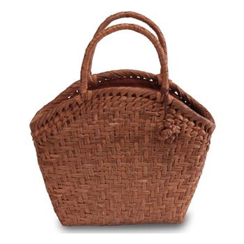 《伝統的な網代編みの風合いを活かした》山葡萄籠工房 山ぶどうかごバッグBK-08Y 網代編 Mサイズ 飾細工付