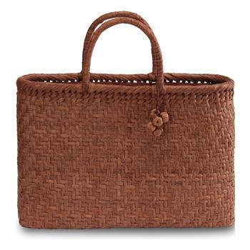 《伝統的な網代編みの風合いを活かした》山葡萄籠工房 山ぶどうかごバッグBK-13Y 網代編 Lサイズ 飾細工付