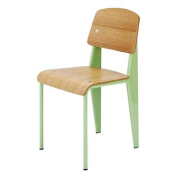 《学生時代の教室にあるような懐かしいデザインの椅子》ジャン・プルーヴェ スタンダードチェア Standard ChairDC-595-GRグリーン