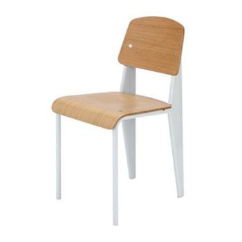 《学生時代の教室にあるような懐かしいデザインの椅子》ジャン・プルーヴェ スタンダードチェア Standard ChairDC-595-WHホワイト