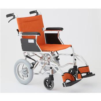 【代引き不可】【非課税】美和商事 HTB-12D-OR MIWA 介助式 アルミ製軽量コンパクト車いす 折り畳み式 バンドブレーキ オレンジ