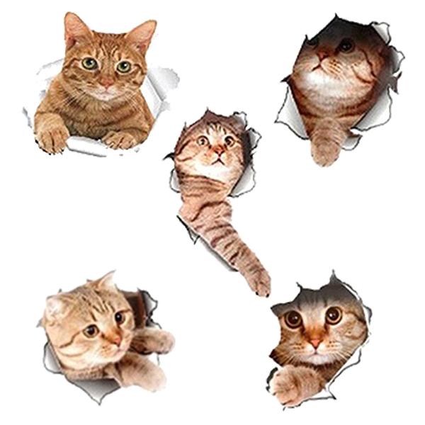 最安値に挑戦 送料無料 メール便 5種類セット 激安セール 顔を出したねこちゃんが可愛い リアルな猫ウォールステッカー 5枚セット 壁 シール 特大 ユニーク 猫グッズ 面白い 人気商品 リビング 3D とびだす猫DL 送料込 インテリア 立体