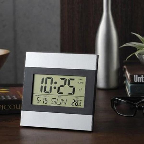 最安値に挑戦 送料無料 メール便 置き掛け兼用 デジタル液晶 インテリアクロック 薄型 アラーム カレンダー タイマー 温度計 送料込 配送員設置送料無料 29153 デジタル時計 目覚まし時計 デジタルクロック 推奨 卓上 時計 置き時計 掛け時計