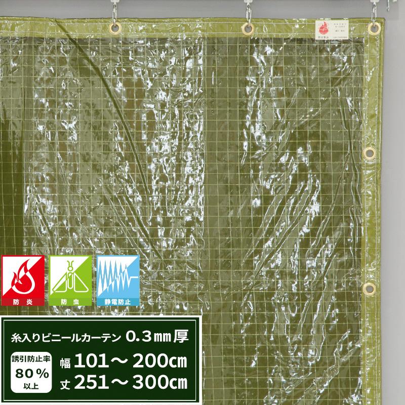[5日限定ポイント5倍]ビニールカーテン 防虫 静電防止 防炎糸入り 緑 0.3mm厚 【FT05】 幅101~200cm 丈251~300cm エコグリーン 間仕切 雨除け 節電 防塵 防虫対策 JQ