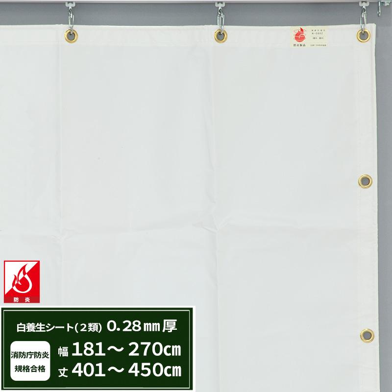 [5日限定ポイント5倍]養生シート エステル防炎2類 建築白養生シート 0.28mmt 【FT12】 幅181~270cm 丈401~450cm 耐候性 防水性 雨よけ 日覆い 野積みシート テント カバー/JQ