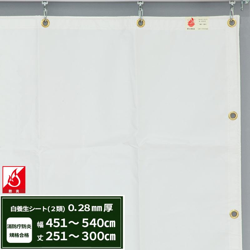 エステル防炎2類 建築白養生シート〈0.28mmt〉優れた耐候性・防水性で雨よけ、日覆いなどの野積みシート、テント、カバーとしても最適【FT12】/幅451~540cm 丈251~300cm/《約10日後出荷》