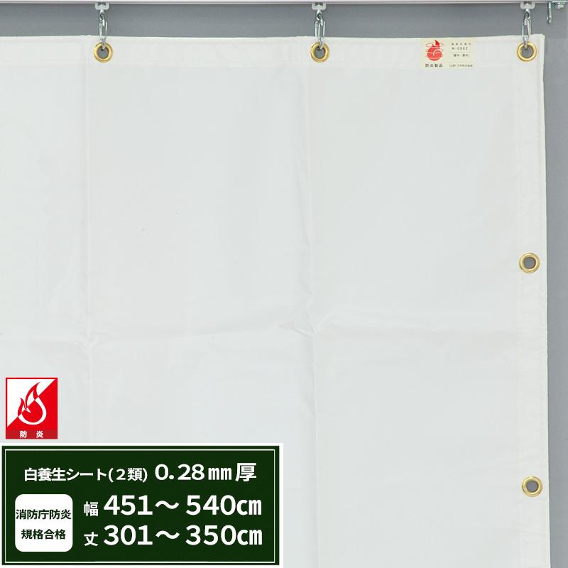 [5日限定ポイント5倍]養生シート エステル防炎2類 建築白養生シート 0.28mmt 【FT12】 幅451~540cm 丈301~350cm 耐候性 防水性 雨よけ 日覆い 野積みシート テント カバー/JQ