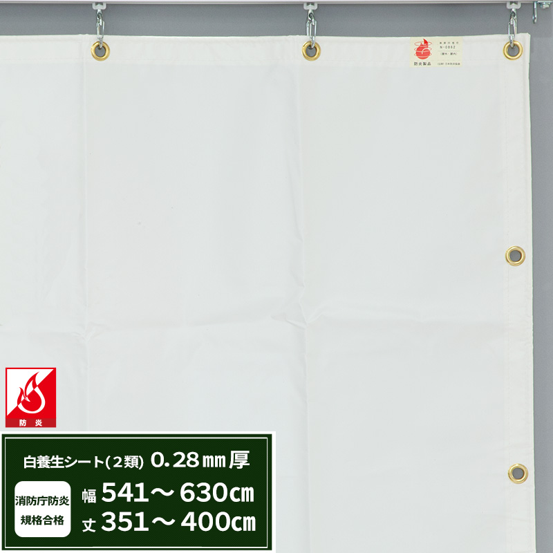 [5日限定ポイント5倍]養生シート エステル防炎2類 建築白養生シート 0.28mmt 【FT12】 幅540~630cm 丈351~400cm 耐候性 防水性 雨よけ 日覆い 野積みシート テント カバー/JQ