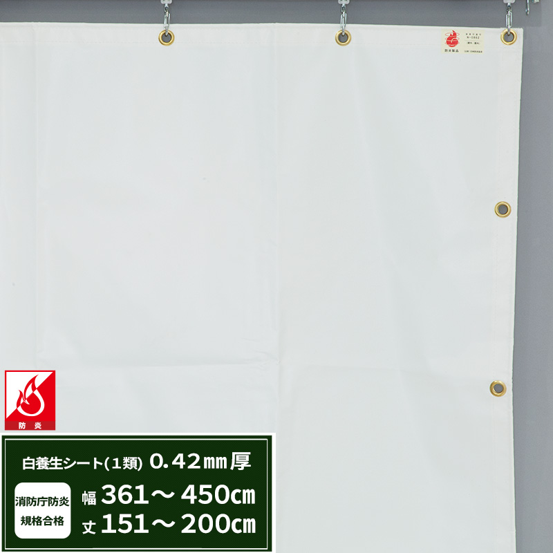 [5日限定ポイント5倍]養生シート エステル防炎1類 建築白養生シート 0.42mmt 【FT13】幅361~450cm 丈151~200cm 耐候性 防水性 雨よけ 日覆い 野積みシート テント カバー/JQ