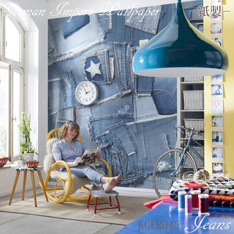 壁紙 ドイツ製【8-909】Jeans「ジーンズ」 輸入壁紙 デザイン おしゃれ 輸入 海外 外国 紙 壁紙 クロス のりなし DIY リフォーム だまし絵 デニム