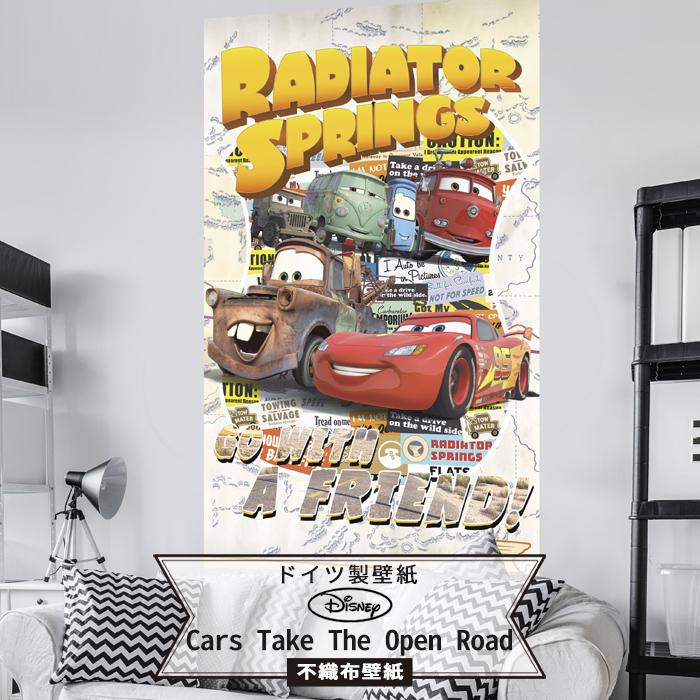 [20日限定ポイント5倍]壁紙 ディズニー ドイツ製 【VD-041】Cars Take The Open Road 輸入壁紙 デザイン おしゃれ 輸入 海外 外国 不織布 壁紙 クロス のりなし DIY リフォーム ディズニー Disney カーズ cars ポップ 子供部屋