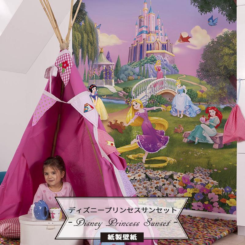 壁紙 ディズニー ドイツ製【4-4026】 Disney Princess Sunset 輸入壁紙 ラプンチェル アリエル