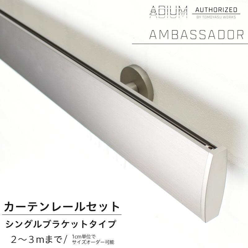 アイアンカーテンレール シングルセット 2~3mまで《即日出荷》[1cm単位サイズオーダー おしゃれ 高級感 シンプル 高級 男前 カーテン レール ハイエンド ドイツ製 ADIUM アディウム AMBASSADOR アンバサダー]