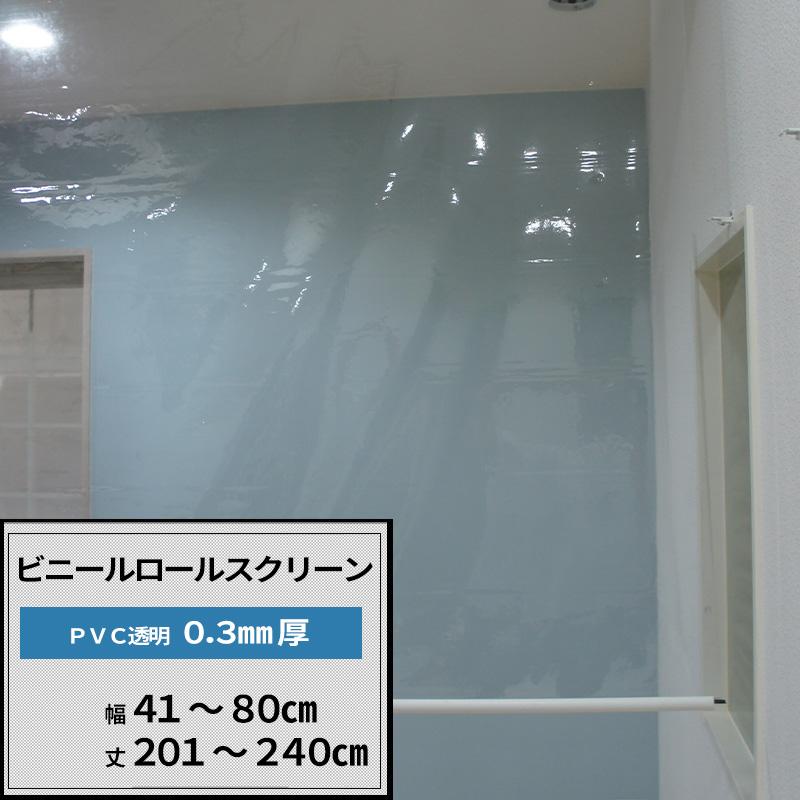 [サイズオーダー] ビニールロールスクリーン/TT31/PVC透明ビニールシート0.3mm厚/幅41~80 丈201~240/倉庫・会社・事務所・店舗・カフェ・部屋の間仕切に!/[プルコード式 チェーン式 取り付け簡単 日本製 インテリア]《約10日後出荷》