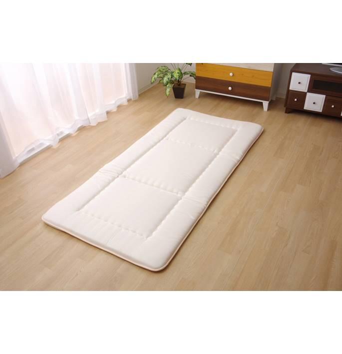 吸湿発熱 新色追加して再販 寝具 サンバーナー敷き布団 送料無料 シングル アイボリー 約100×210cm
