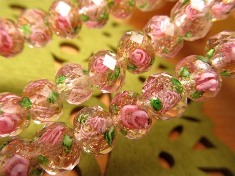可愛らしいデザインいっぱい 金彩ローズタイプA 昔ながらの人工ビーズ 激安 9.5-10mm トンボ玉 卓抜 とんぼ玉 約37cm ビーズ 数量は多 きらきらボタン型 一連 50珠前後