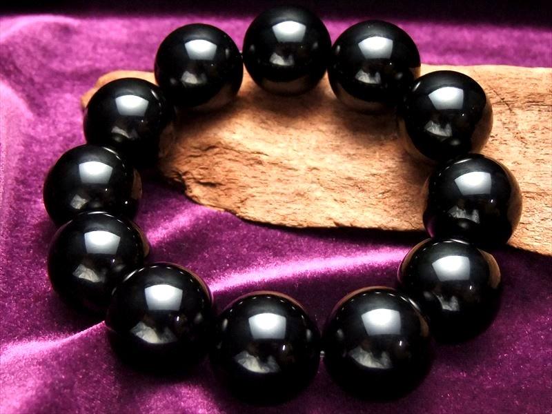 ●迫力の巨珠 20mm チベットモリオン【黒水晶】 AAAA黒水晶ブレスレット 20ミリ×12珠 最強の魔除け 邪気払いの石【チベット産】【of-F2】