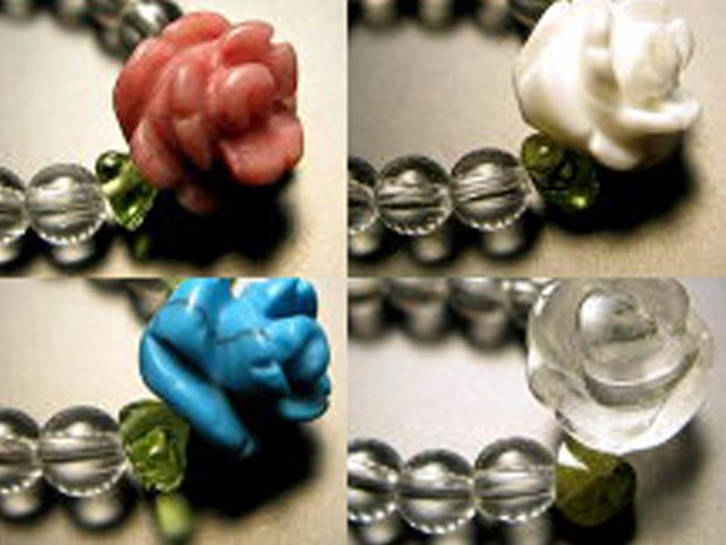 全8種 ペリドット付 パワーストーン アクセサリー ビーズ 指輪 【天然石薔薇 ローズ リング】Mサイズ