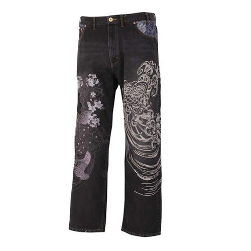 【大きいサイズ】【メンズ】 絡繰魂 昇り鯉刺繍デニムパンツ 100/110/120/130
