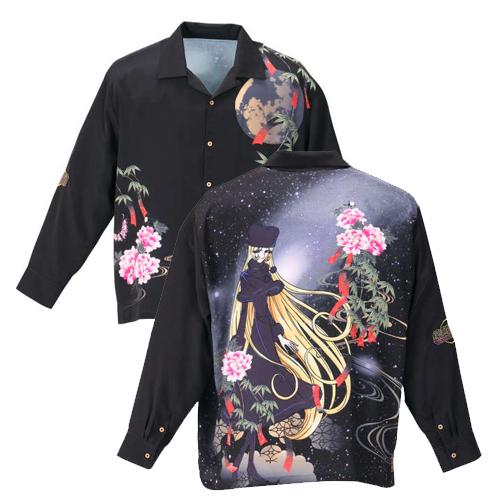 【大きいサイズ】 絡繰魂×銀河鉄道999 メーテル長袖オープンシャツ 【絡繰魂(からくりたましい)】 メンズ  3L/4L/5L/6L 和柄 刺繍 からくりだましい 和柄スタイル 和 日本 ビッグサイズ