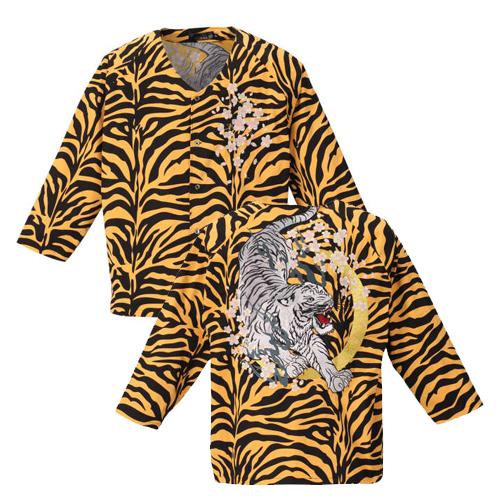 【大きいサイズ】 絡繰魂 信長の虎威嚇ダボシャツ 【絡繰魂(からくりたましい)】 メンズ  3L/4L/5L/6L 和柄 刺繍 からくりだましい 和柄スタイル 和 日本 ビッグサイズ