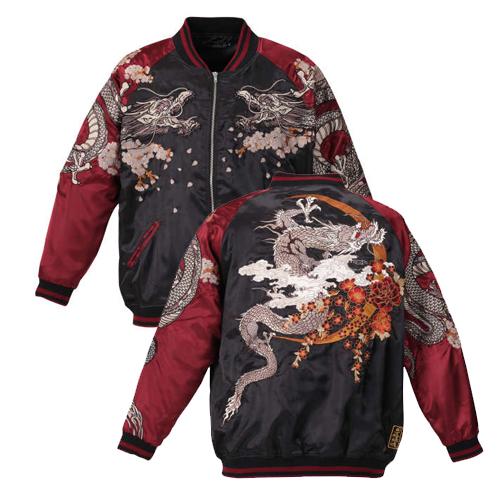 【大きいサイズ】 絡繰魂 龍神スカジャン 【絡繰魂(からくりたましい)】 メンズ 3L/4L/5L/6L 和柄 刺繍 からくりだましい 和柄スタイル 和 日本 ビッグサイズ