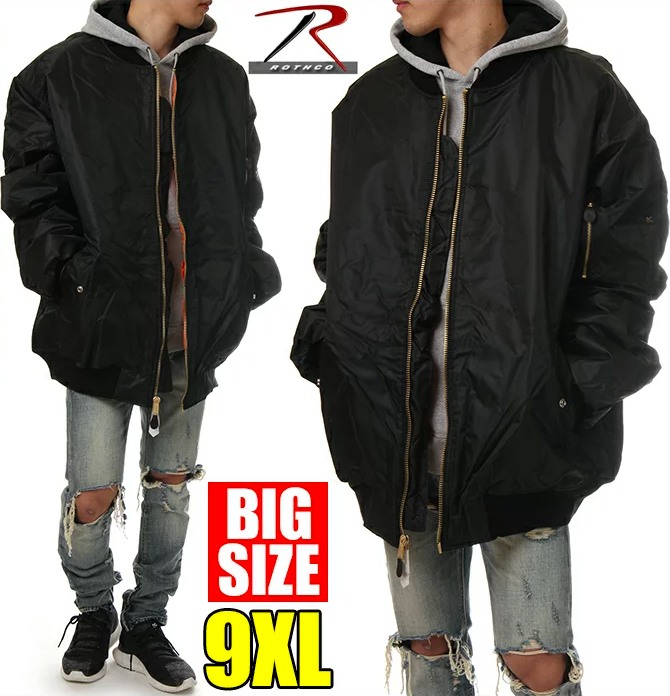 ロスコ MA-1 メンズ レディース ジャケット 大きいサイズ ROTHCO MA1 フライトジャケット ボンバージャケット ミリタリー 中綿 リバーシブル アウター 冬 作業着 防寒 アメカジ ストリート ブランド ファッション USAモデル ブラック 黒 9XL