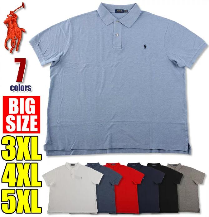 ラルフローレン ポロシャツ メンズ 大きいサイズ POLO RALPH LAUREN 半袖 無地 鹿の子 ビッグサイズ アメカジ USA ブランド ファッション ホワイト 白 ブラック 黒 赤 紺 青 グレー 3XL 4XL 5XL