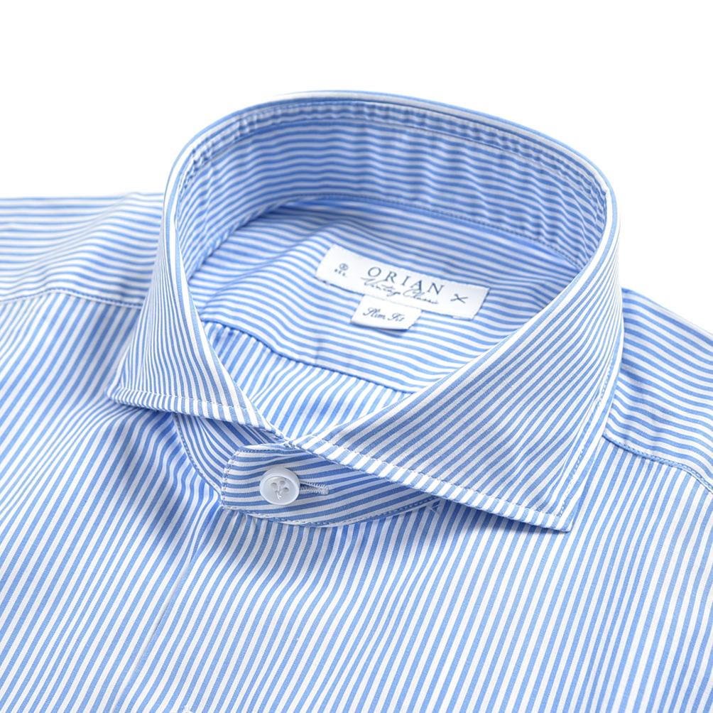 サイズ 40 41 43 44 クリアランス 半額以下 オリアン ORIAN Vintage Classic シャツ ワイシャツ ホリゾンタルカラー 長袖 Slim Fit ストライプ ブルー ブランド メンズ XL 爆安 2XL ホワイト ビジネス M 100% 新色 コットン IN ITALY イタリア L MADE 春夏