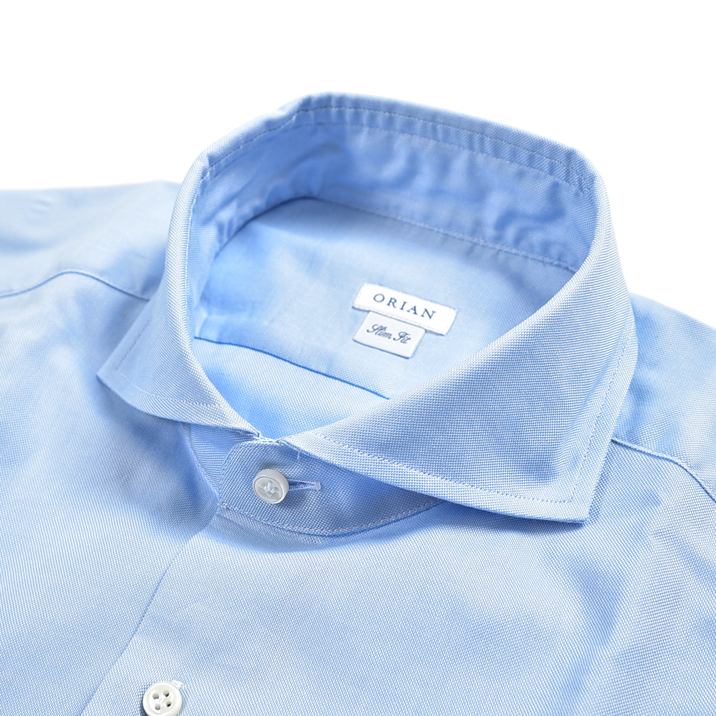 サイズ 41 42 クリアランス 半額以下 オリアン ORIAN シャツ ワイシャツ ホリゾンタルカラー 長袖 Slim Fit コットン MADE L ビジネス ブランド セール商品 100% ブルー 春夏 メンズ IN ITALY イタリア 感謝価格