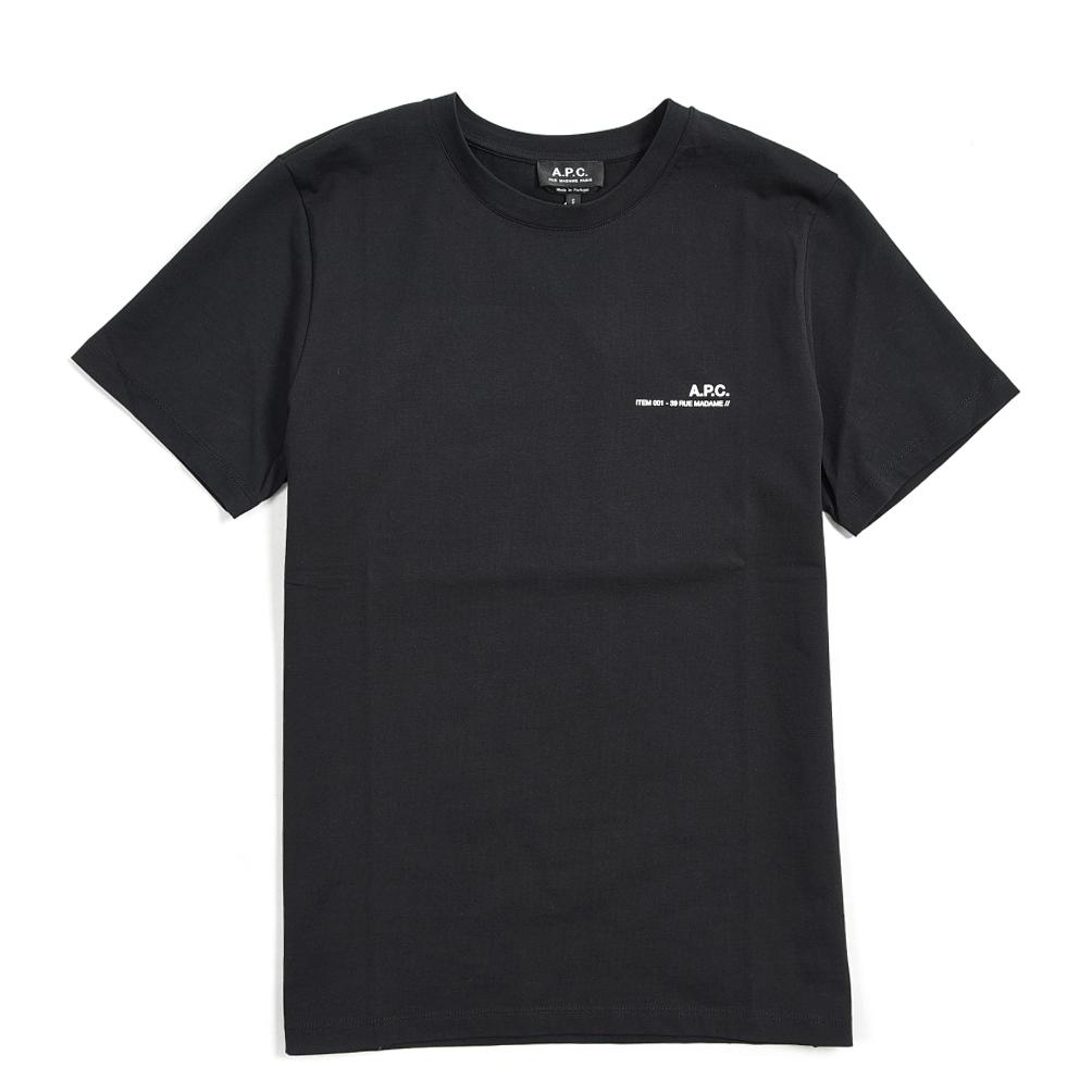 サイズ S M L XL 2XL 《動画配信中》アーペーセー A.P.C 予約販売 2021年 春夏新作 コットン メンズ クルーネック 半袖 ブラック 100% 有名な Tシャツ 春夏 大きいサイズ ロゴ