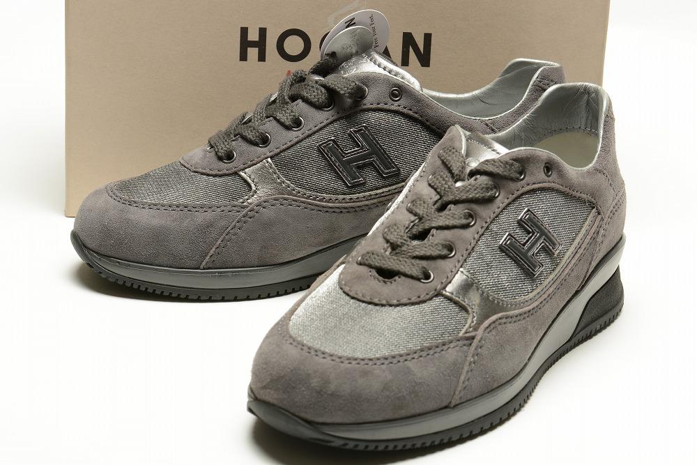 HOGAN ホーガン 【送料無料】スエード レザー ロゴ スニーカー シューズ 靴 グレー ブランド 【子供靴】【キッズ】【ジュニア】【サイズEU34(21cm/10歳)】【スエードレザー】【あす楽対応_関東】