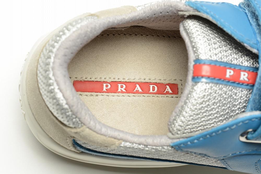 プラダ PRADA レザースニーカー キッズ ジュニア ブルー シルバー ブランド/ギフト ブランド専用箱 日本サイズ18.5cm~20.5cm