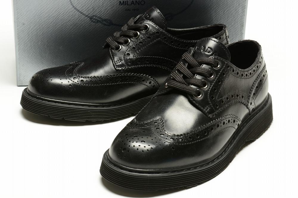 プラダ PRADA 【送料無料】ブローグシューズ/革靴/ブラック【子供靴】【キッズ】【ジュニア】【サイズEU30~EU37(18.5cm~23cm)】