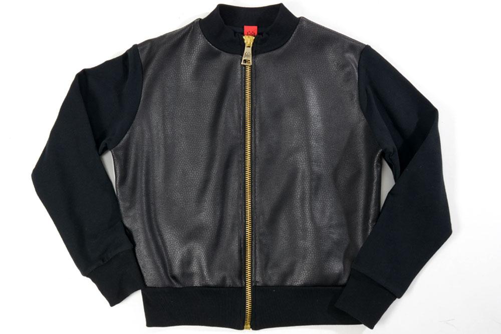 ジジル JIJIL 【送料無料】ブルゾン ジャケット 型押しデザイン ブラック【子供服】【キッズ】【ジュニア】【サイズ12歳】