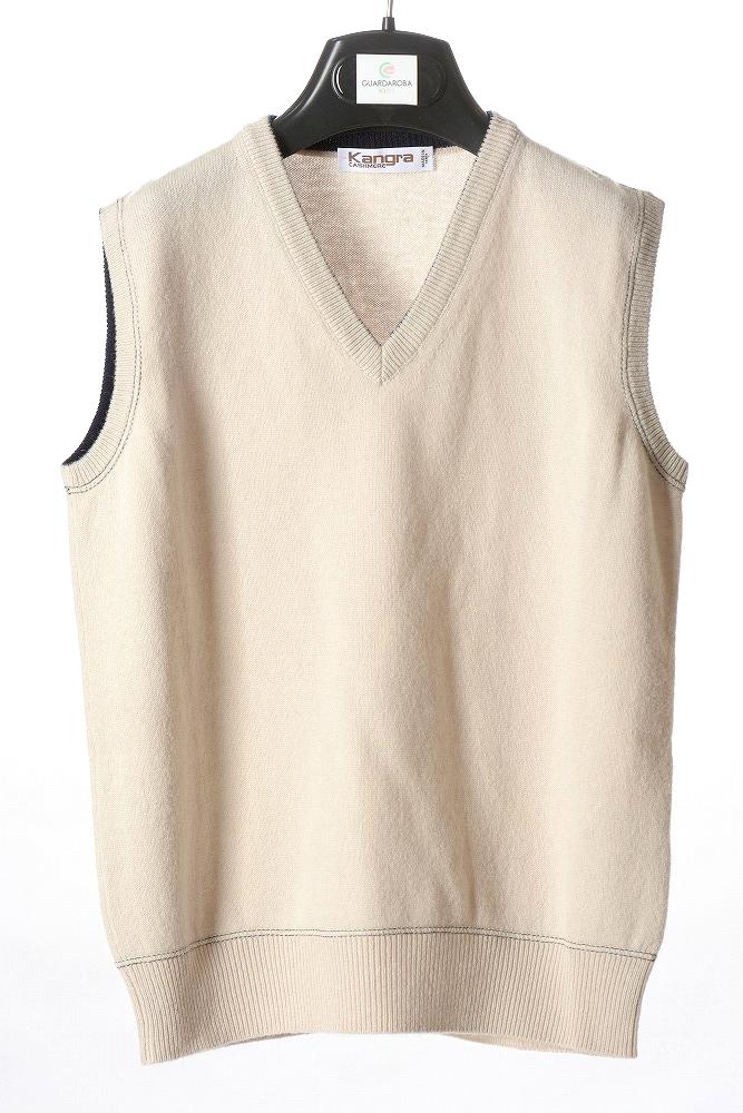 交換無料 カングラ Kangra サイズ6 超安い 6歳 ニットベスト ジュニア カシミア混 キッズ ベージュ 子供服
