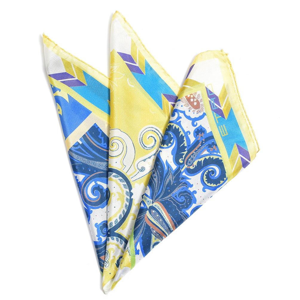 エトロ ETRO ポケットチーフ スクエア ハンカチ メンズ シルク 100% リーフ柄 イエロー ブルー イタリア ブランド イタリア製 ギフト